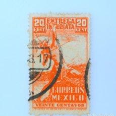 Sellos: SELLO POSTAL MÉXICO 1947, 20 CTS, ARQUERO INDIO, ENTREGA ESPECIAL, USADO. Lote 232723263
