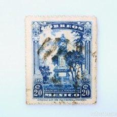 Sellos: SELLO POSTAL MÉXICO 1923, 20 CTS, MONUMENTO A JOSEFA ORTIZ DE DOMINGUEZ, USADO. Lote 232749190