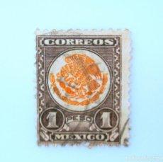Sellos: SELLO POSTAL MÉXICO 1934, 1 $, ESCUDO NACIONAL, USADO. Lote 232811370