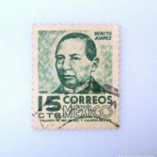 Sellos: SELLO POSTAL MÉXICO 1954, 15 CTS, BENITO JUAREZ, USADO. Lote 232815095