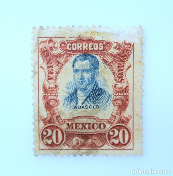 SELLO POSTAL MÉXICO 1910, 20 CTS, MARIANO ABASOLO, CENTENARIO DE LA INDEPENDENCIA, ERROR IMP. USADO (Sellos - Extranjero - América - México)