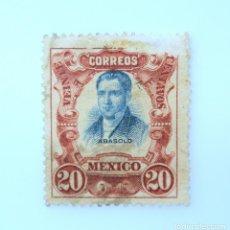 Sellos: SELLO POSTAL MÉXICO 1910, 20 CTS, MARIANO ABASOLO, CENTENARIO DE LA INDEPENDENCIA, ERROR IMP. USADO. Lote 232824750