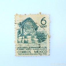 Sellos: SELLO POSTAL MÉXICO 1940, 6 CTS, MONUMENTO CONMEMORATIVO DEL CAMINO MEXICO GUADALAJARA, USADO. Lote 233115490