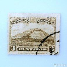 Sellos: SELLO POSTAL MÉXICO 1927, 3 CTS, PIRAMIDE DE SOL TEOTIHUACAN, USADO. Lote 233164085
