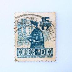 Sellos: SELLO POSTAL MÉXICO 1947, 15 CTS, CARTERO, USADO. Lote 233168910