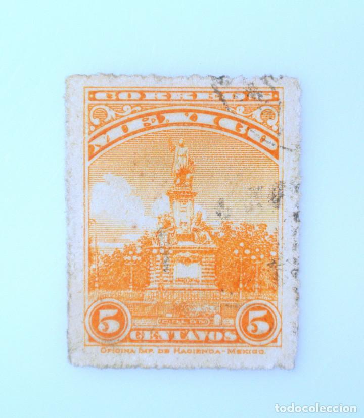 SELLO POSTAL MÉXICO 1926, 5 CTS, MONUMENTO A COLON, USADO (Sellos - Extranjero - América - México)