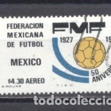 Sellos: MEXICO 1977, USADO, 50º ANIVERSARIO DE LA FEDERACION MEXICANA DE FUTBOL. Lote 238299745