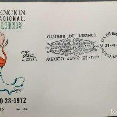 Sellos: O) 1972 MÉXICO, INTERNACIONAL DE LEONES, CONVENCIÓN, FDC XF. Lote 243694675