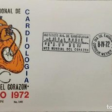 Sellos: O) 1972 MÉXICO, MEDICINA INSTITUTO NACIONAL DE CARDIOLOGÍA, ACTIVIDAD ELÉCTRICA DEL CORAZÓN CANCELAC. Lote 243931715