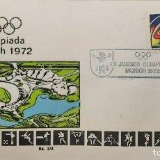 Sellos: O) 1972 MÉXICO, ESTADIO, DEPORTES, JUEGOS OLÍMPICOS MÚNICH, JUEGO DE FÚTBOL ESTILIZADO, FDC XF. Lote 243931955
