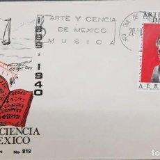 Sellos: O) 1974 MÉXICO, SILVESTRE REVUELTAS COMPOSITOR,ARTE BUSTO DE BRONCE, FDC XF. Lote 254443915