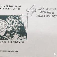 Sellos: O) 1977 MÉXICO, LUDWIG VAN BEETHOVEN, MÚSICO COMPOSITOR, INSTRUMENTO MUSICAL DE PIANO BONITA CANCELA. Lote 255004060