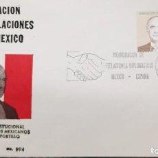 Sellos: O) 1977 MÉXICO, REANUDACIÓN DE RELACIONES DIPLOMÁTICAS CON ESPAÑA, PRES. JOSE LOPEZ PORTILLO Y REY J. Lote 255010760