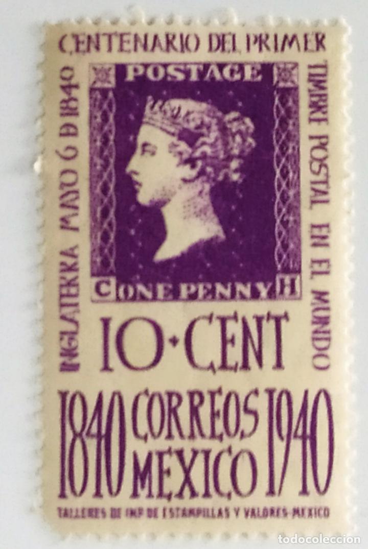 SELLO DE MEXICO 10 C - 1940 - CENTENARIO SELLO - NUEVO SIN SEÑAL DE FIJASELLOS (Sellos - Extranjero - América - México)