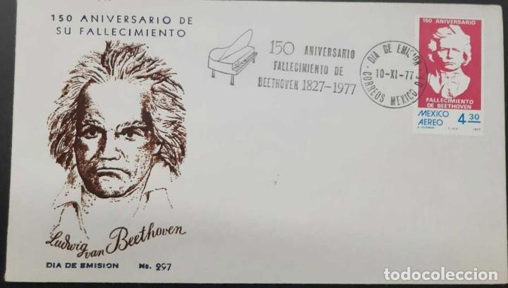 R O) 1977 MÉXICO, LUDWIG VAN BEETHOVEN, COMPOSITOR MÚSICO, INSTRUMENTO MUSICAL PIANO BONITA CANCELAC (Sellos - Extranjero - América - México)