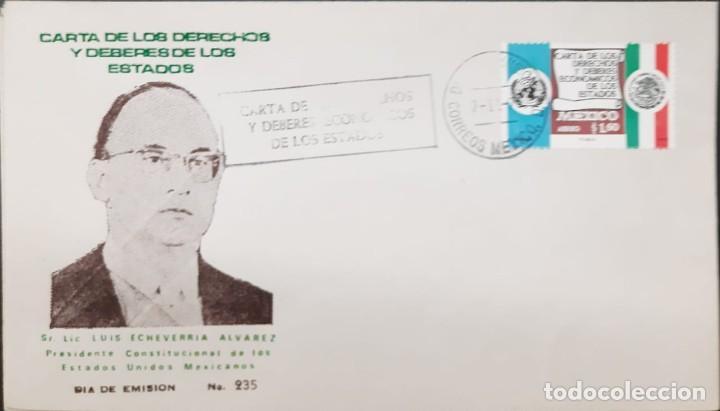 O) 1975 MÉXICO, ONU, DECLARACIÓN DE DERECHOS Y DEBERES ECONÓMICOS DE LAS NACIONES, FDC XF (Sellos - Extranjero - América - México)