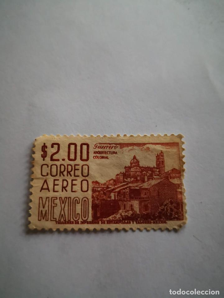 SELLOS CORREO AEREO MEXICO 2 $ GUERRERO ARQUITECTURA COLONIAL (Sellos - Extranjero - América - México)