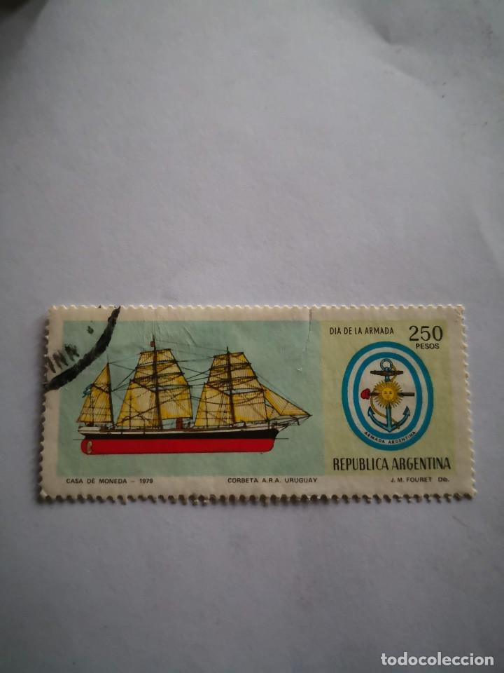 SELLO REPUBLICA ARGENTINA DIA DE LA ARMADA 250 PESOS 1970 (Sellos - Extranjero - América - México)