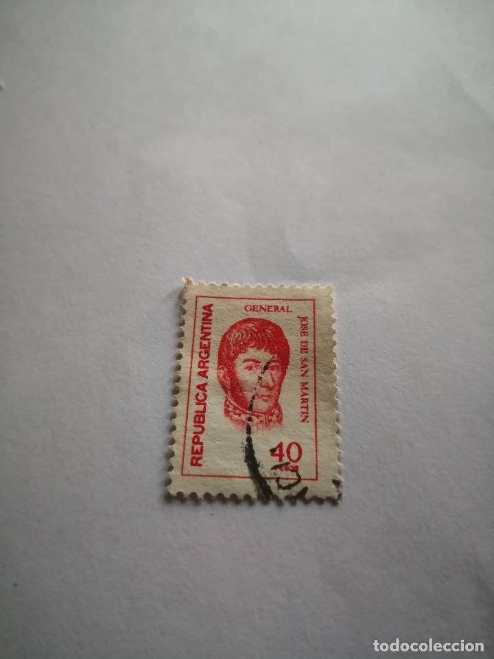 SELLO GENERAL JOSE DE SAN MARTIN 40 PESOS REPUBLICA ARGENTINA (Sellos - Extranjero - América - México)