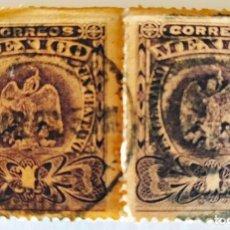 Sellos: 2 SELLOS DE UN CENTAVO DE MEXICO. USADOS EN 1908.. Lote 265976983