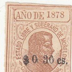 Sellos: 1878 SELLO 36 CS ESTADO LIBRE Y SOBERANO MORELOS DISTRITO JONACATEPEC CONTRIBUCION PERSONAL FISCAL. Lote 267515329