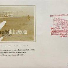 Sellos: O) 2003 MÉXICO, BIPLANE FLYER, 1903 PRIMER VUELO EN MOTOR, WRIGHT FLYER, WRIGHT BROTHERS, VUELO MOTO. Lote 269749953