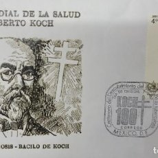 Sellos: O) 1982 MÉXICO, MEDICINA, TUBERCULOSIS, ROBERT HEINRICH HERMANN KOCH, MICROBIÓLOGO, TB BACILUS, SALU. Lote 270184938