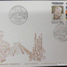 Sellos: O) 1982 MÉXICO, CACTUS, ARQUEOLOGÍA, RUINAS CIUDAD MAYA DE EDZNA CAMPECHE, ESCULTURA OLMEC TABASCO,. Lote 270188293