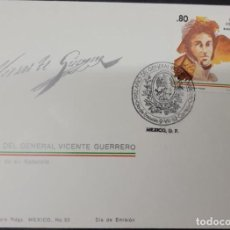 Sellos: O) 1982 MEXICO, GEN. VICENTE GUERRERO, INSURGENCY, MEXICO'S INDEPENDENCE, EAGLE COAT, FDC XF. Lote 270189413