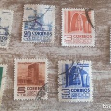 Sellos: MEXICO ARQUITECTURA 7 SELLOS USADOS 1950. Lote 280108738