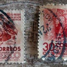 Sellos: MEXICO DANZA DE LOS MOROS 2 SELLOS USADOS 1950. Lote 280109708