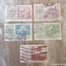 Sellos: MÉXICO CORREO AEREO USADO 5 SELLOS MÉXICO MÉJICO, 1950 - 52. Lote 280437003