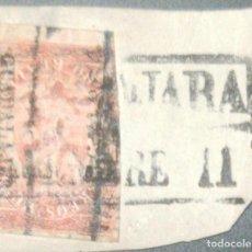 Sellos: O) 1866 MÉXICO, GUADALAJARA, 8 REALES. FRAGMENTO. CANCELACIÓN DE CAJA DE DOBLE LÍNEA. XF. Lote 288584718
