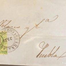 Sellos: O) 1856 MÉXICO, CUERNAVACA, 2 REALES VERDE, CUBIERTA CIRCULADA A PUEBLA- XF. Lote 295300543