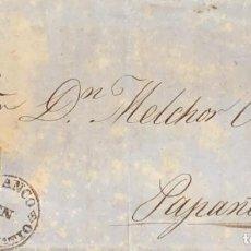 Sellos: O) 1856 MÉXICO, MARAVATIO, 2 REALES, SOBRE CIRCULADO A PAPANTLA. FRANCO MARAVATIO. XF. Lote 295305258