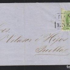 Sellos: O) 1856 MÉXICO, OAXACA, 2 REALES, TAPA CIRCULADA A PUEBLA, CANCELACIÓN DE CAJA. XF. Lote 295309443