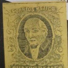 Sellos: O) 1856 MÉXICO, SC 3D, 2 REALES AMARILLO VERDE. SIN SOBREIMPRESIÓN, SIN NOMBRE- XF. Lote 295312748