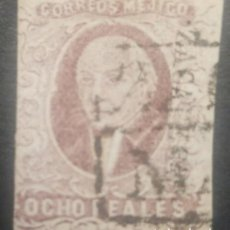 Sellos: O) 1856 MÉXICO, ZACATECAS, 8 REALES, CAJA CANCELACIÓN DOBLE LÍNEA EN NEGRO. XF. Lote 295552838