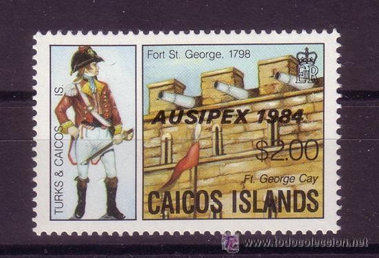 CAICOS 43*** - AÑO 1984 - EXPOSICION FILATELICA INTERNACIONAL AUSIPEX 84 - UNIFORMES MILITARES (Sellos - Temáticas - Militar)