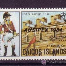 Sellos: CAICOS 43*** - AÑO 1984 - EXPOSICION FILATELICA INTERNACIONAL AUSIPEX 84 - UNIFORMES MILITARES. Lote 136248417