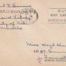Sellos: ESTADOS UNIDOS, COMPRE BONOS DE GUERRA, CARTA CIRCULADA EL 7-10-1943 POR UN OFICIAL (GUERRA MUNDIAL). Lote 25714117