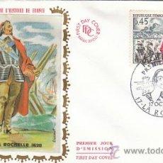 Sellos: FRANCIA, CARDENAL RICHELIEU, SITIO DE LA ROCHELLE, PRIMER DIA DE 17-10-1970, SEDA. Lote 26528697