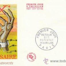 Sellos: FRANCIA IVERT 1447, 20 ANIVº DE LA VUELTA DE LOS DEPORTADOS 2ª GUERRA MUNDIAL, PRIMER DIA 1-4-1965. Lote 27174667