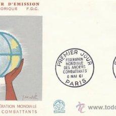Sellos: FRANCIA IVERT 1292, CONGRESO DE LA FEDERACIÓN MUNDIAL DE ANTIGUOS COMBATIENTES, PRIMER DIA 6-5-1961. Lote 27175639
