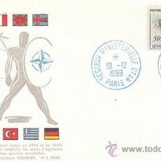 Sellos: FRANCIA IVERT 1228, SESIÓN MINISTERIAL DE LA OTAN, MATASELLO DE 19-12-1959. Lote 27219333