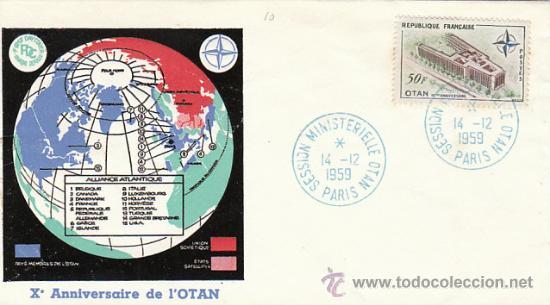 FRANCIA IVERT 1228, 10º ANIVERSARIO DE LA OTAN, PRIMER DIA DE 14-12-1959 (Sellos - Temáticas - Militar)