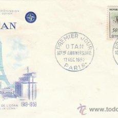 Sellos: FRANCIA IVERT 1228, 10º ANIVERSARIO DE LA OTAN, PRIMER DIA DE 14-12-1959. Lote 27219397
