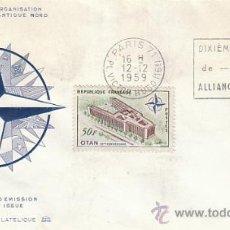 Sellos: FRANCIA IVERT 1228, 10º ANIVERSARIO DE LA OTAN, RODILLO DE PRIMER DIA DE 14-12-1959. Lote 27219429