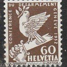 Sellos: SUIZA IVERT 258, CONFERENCIA PARA EL DESARME EN GINEBRA (AÑO 1932), NUEVO CON SEÑAL DE CHARNELA. Lote 29673868