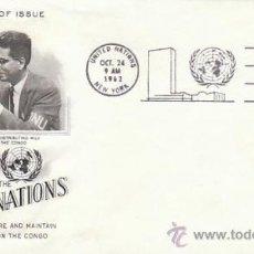Sellos: NACIONES UNIDAS NUEVA YORK SCOTT Nº 111, ESFUERZO POR LA PAZ EN EL CONGO, PRIMER DIA 24-10-1962. Lote 32332177